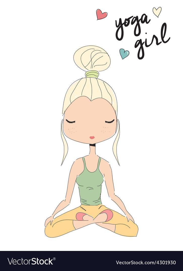 Yoga girl sitting in lotus pose hand drawn vector   Price: 1 Credit (USD $1)