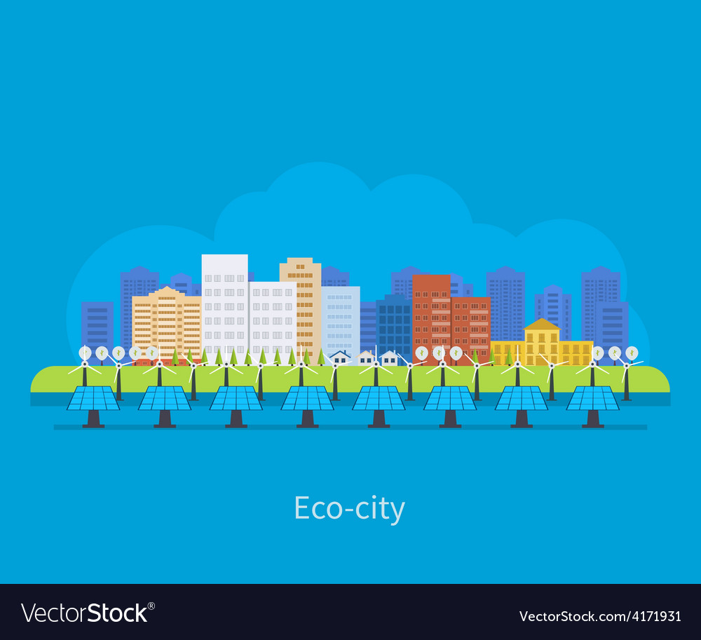 City landscape environmentally friendly house vector | Price: 1 Credit (USD $1)