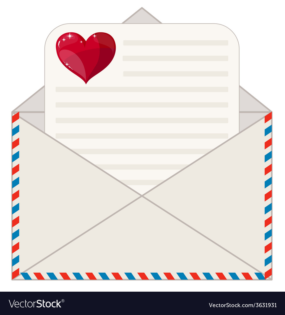 Envelope with a letter in the form of valentines vector | Price: 1 Credit (USD $1)
