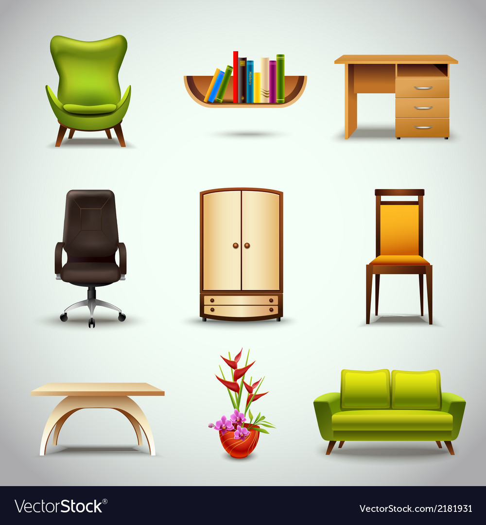 Furniture realistic icons vector | Price: 1 Credit (USD $1)