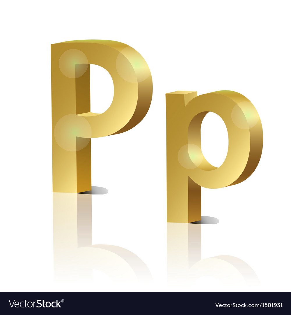 Golden letter p vector | Price: 1 Credit (USD $1)