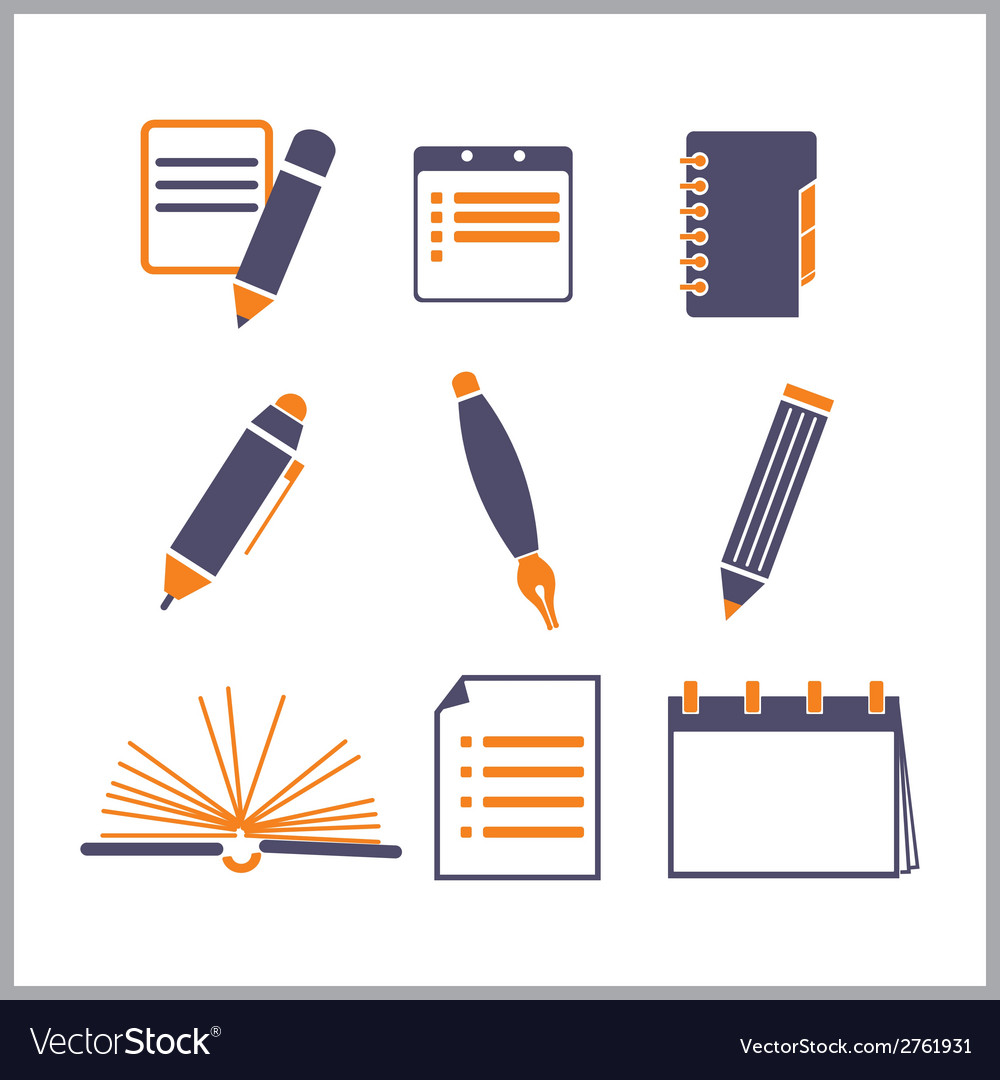 Icons of notepads and pencils vector | Price: 1 Credit (USD $1)