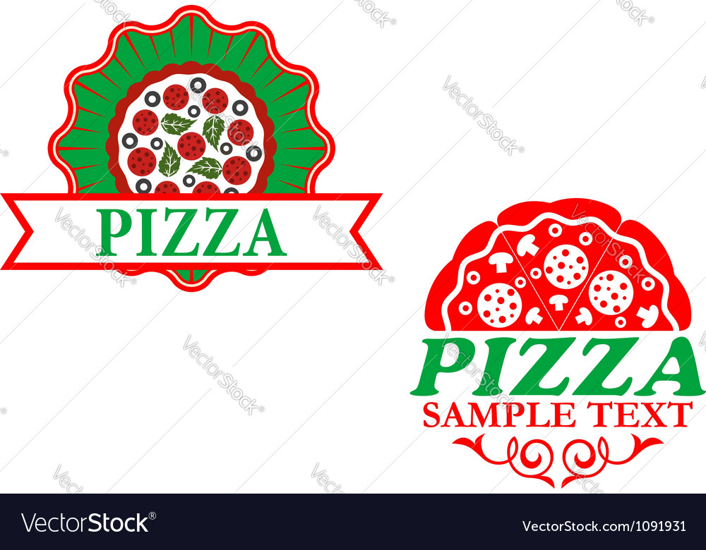Italian pizza emblems and banners vector | Price: 1 Credit (USD $1)