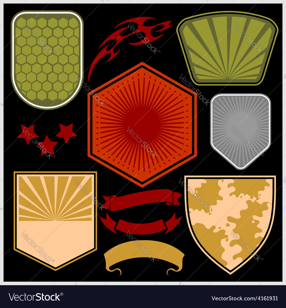 Military shields and elements - set vector | Price: 1 Credit (USD $1)