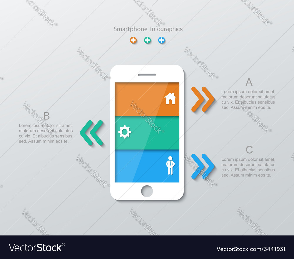 Paper smartphone infographics vector | Price: 1 Credit (USD $1)