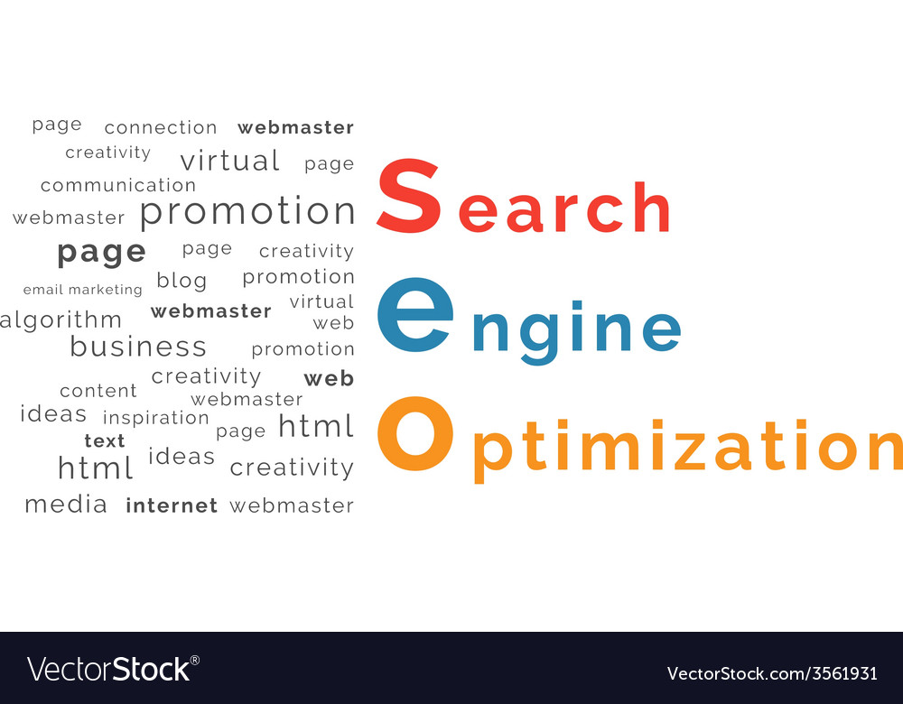 Seo word combined from elements vector | Price: 1 Credit (USD $1)