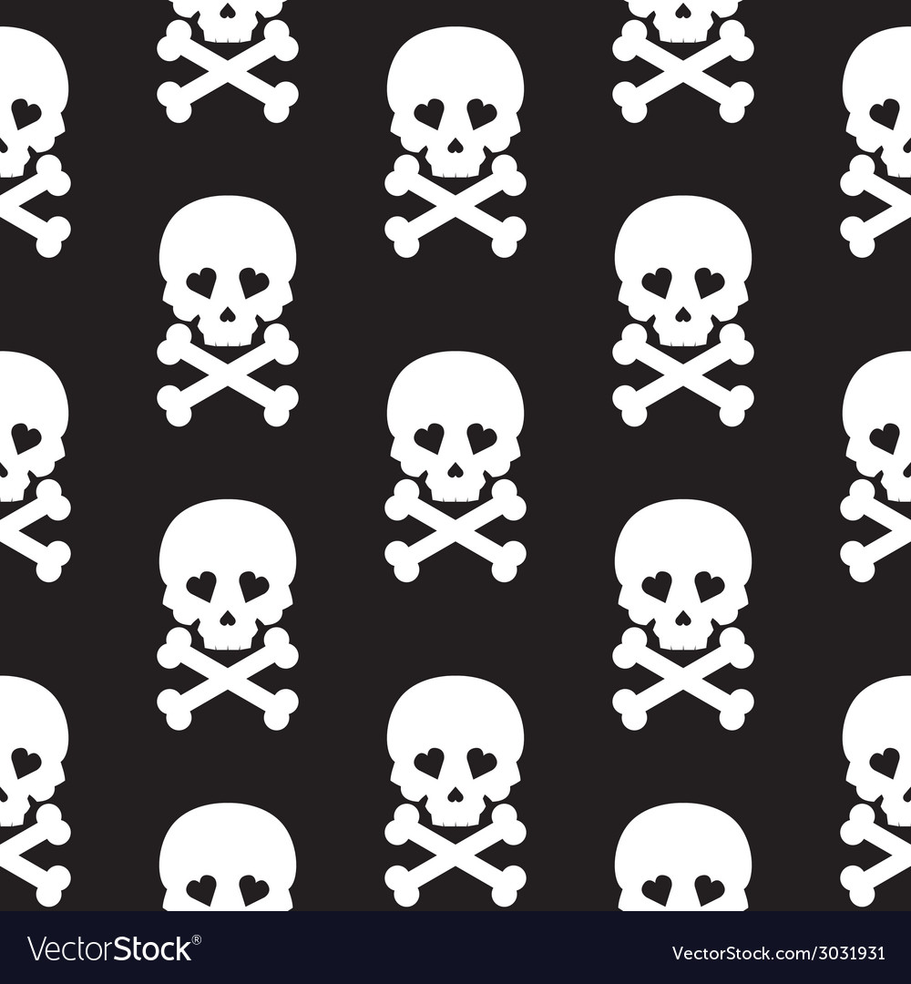 Skull seamless pattern background white black vector | Price: 1 Credit (USD $1)