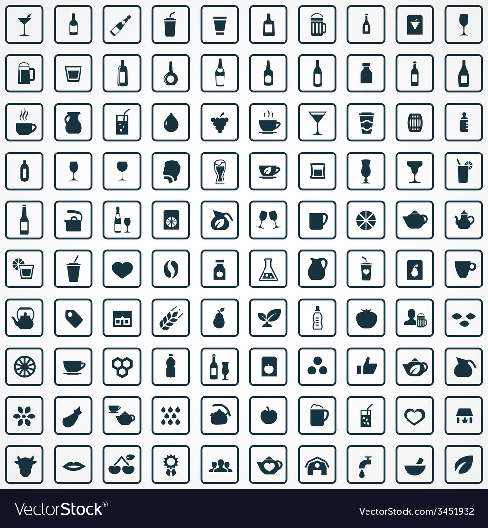 100 drinks icons set vector | Price: 1 Credit (USD $1)