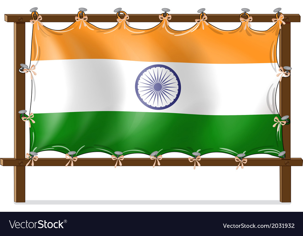A wooden frame with the flag of india vector | Price: 1 Credit (USD $1)