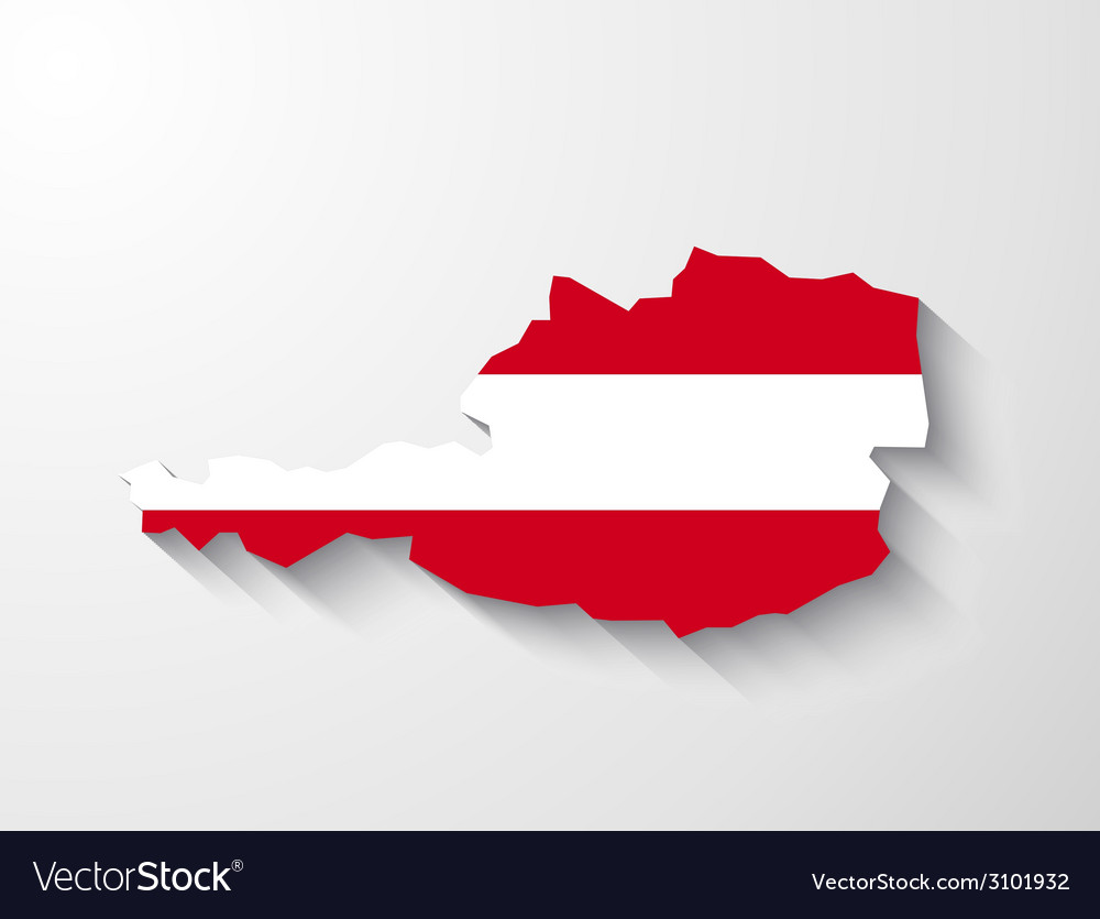 Austria map with shadow effect vector | Price: 1 Credit (USD $1)