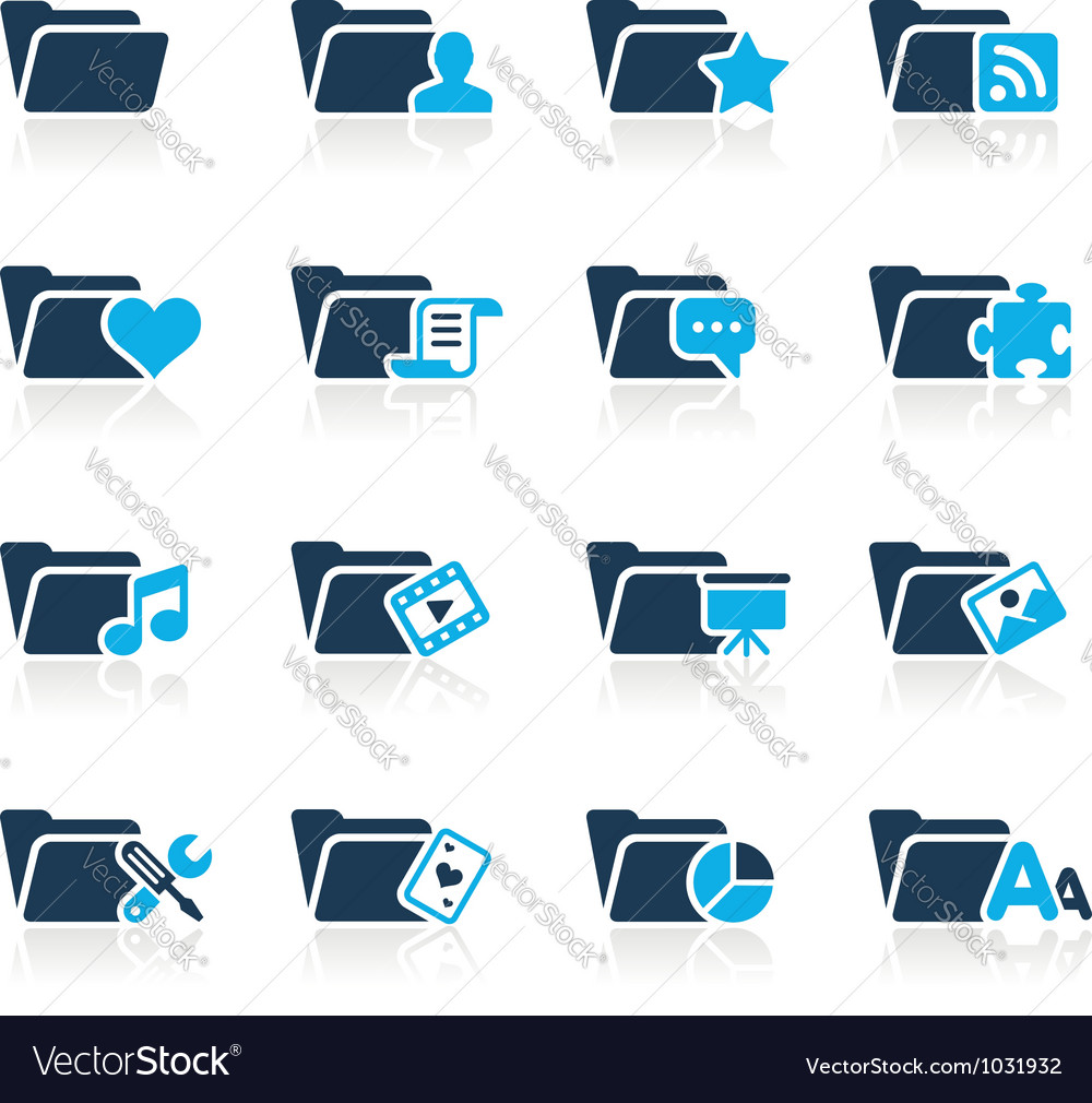 Folders icons 2 azure series vector | Price: 1 Credit (USD $1)