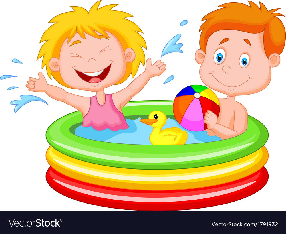 Kids cartoon playing in an inflatable pool vector | Price: 1 Credit (USD $1)