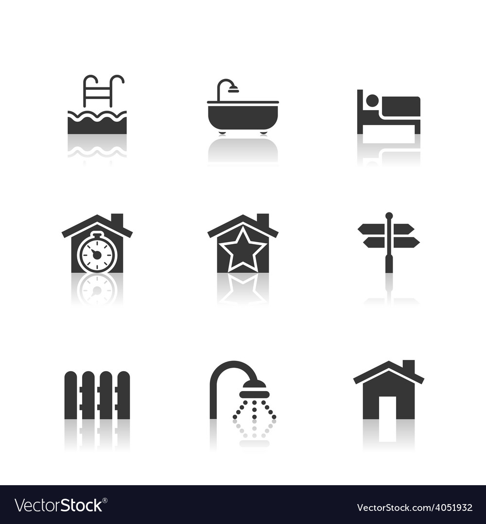 Real estate icons set with reflection vector | Price: 1 Credit (USD $1)