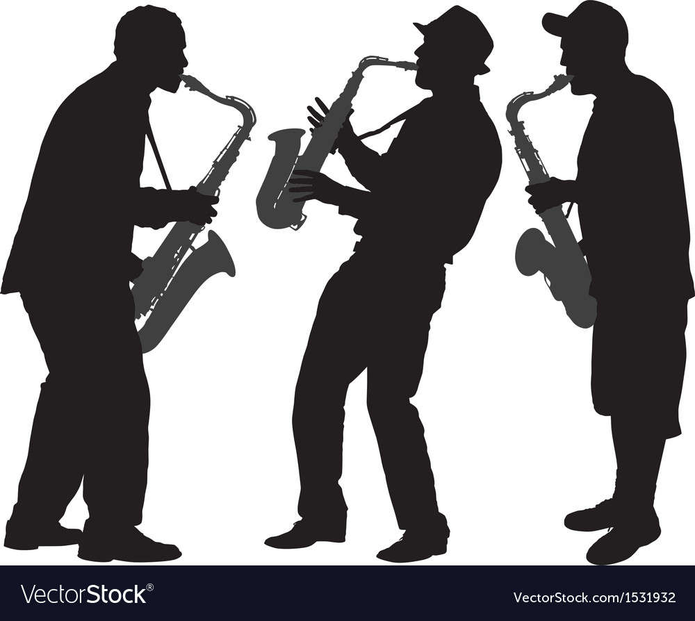 Saxophone player silhouette vector | Price: 1 Credit (USD $1)