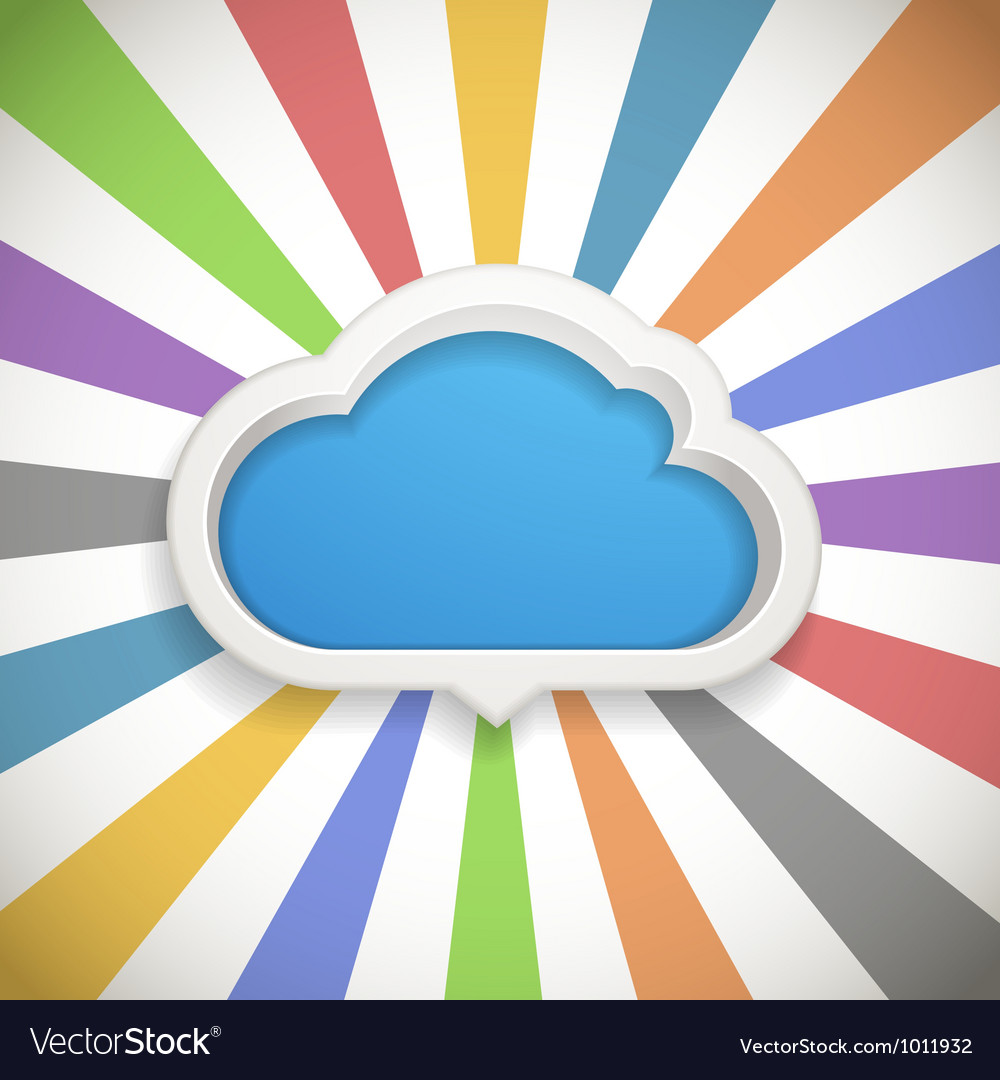 Speech cloud template with the color rays vector | Price: 1 Credit (USD $1)