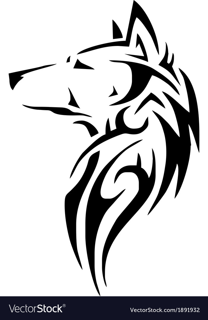 Tribal wolf head vector | Price: 1 Credit (USD $1)