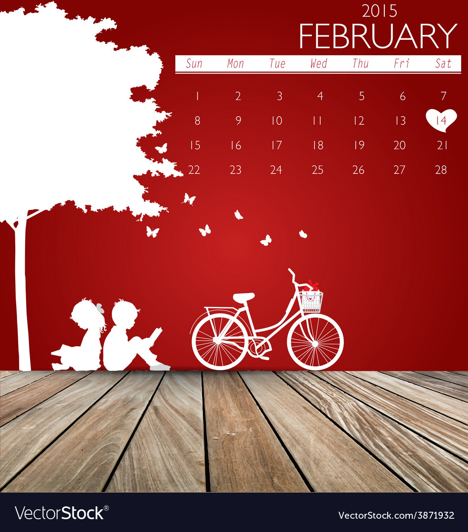 Valentines day 2015 calendar february vector | Price: 1 Credit (USD $1)