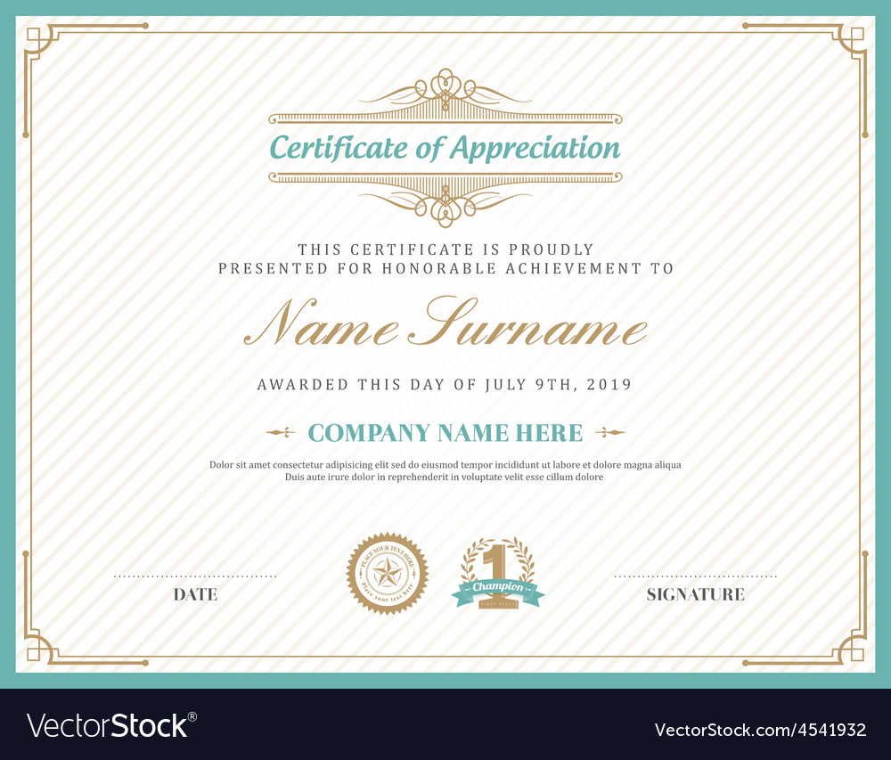 Vintage retro art deco frame certificate template vector | Price: 1 Credit (USD $1)