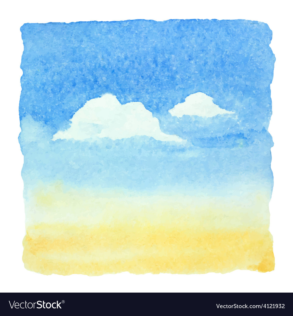 Watercolor blue sky and clouds background vector | Price: 1 Credit (USD $1)