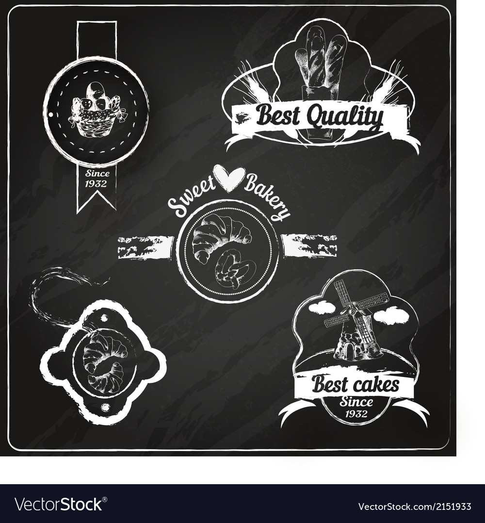 Bakery emblems chalkboard vector | Price: 1 Credit (USD $1)