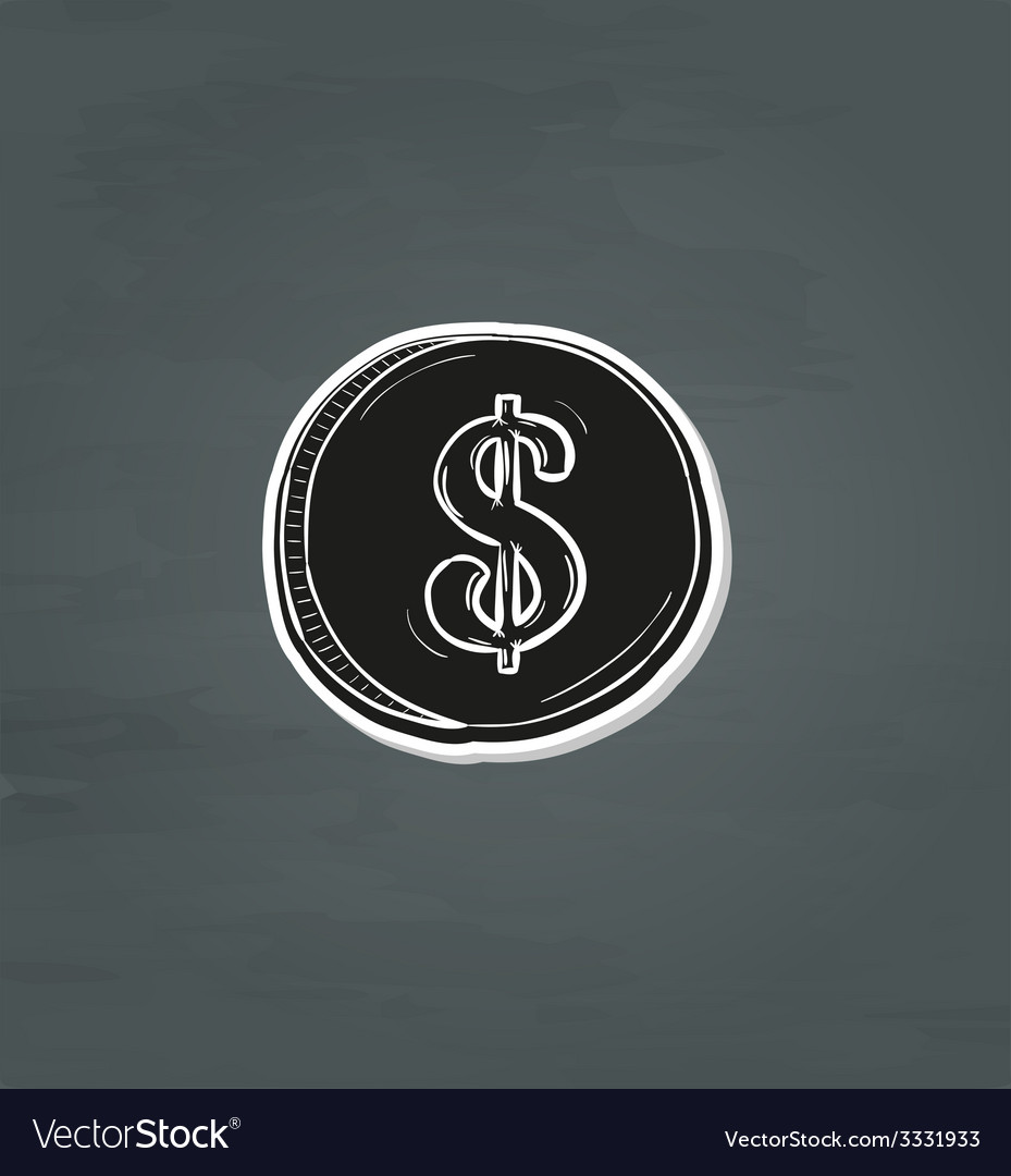 Black coin with dollar symbol vector | Price: 1 Credit (USD $1)