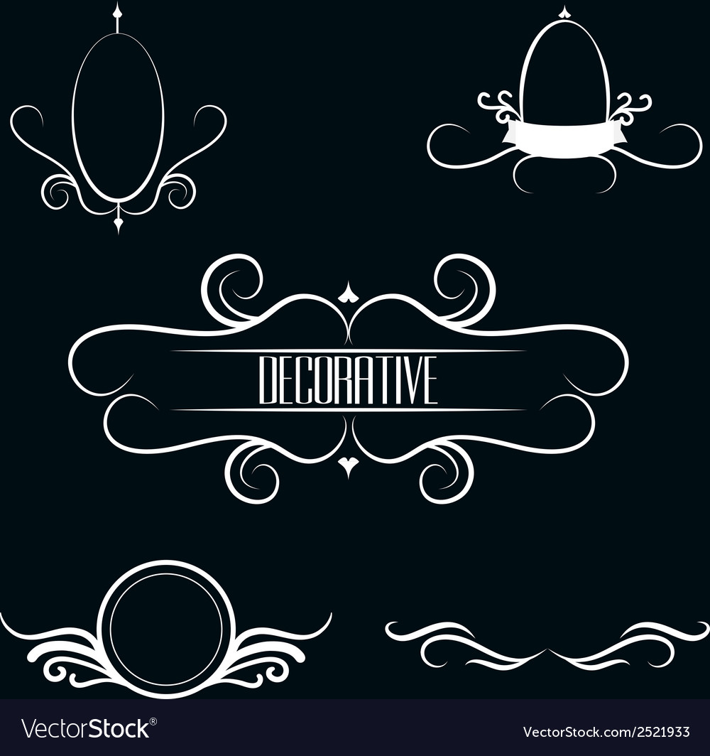Collection of white decorative border frames vector | Price: 1 Credit (USD $1)