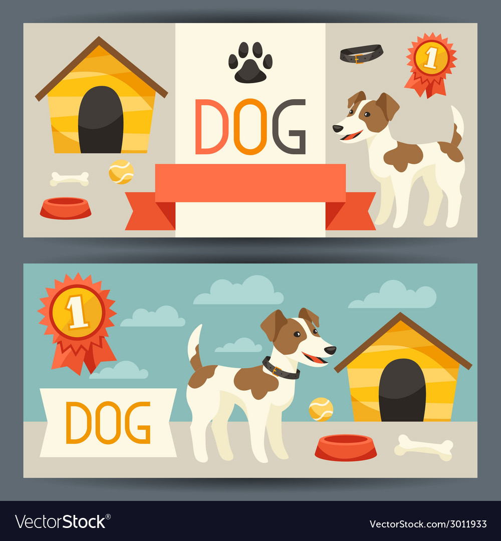 Horizontal banners with cute dog icons and objects vector | Price: 1 Credit (USD $1)