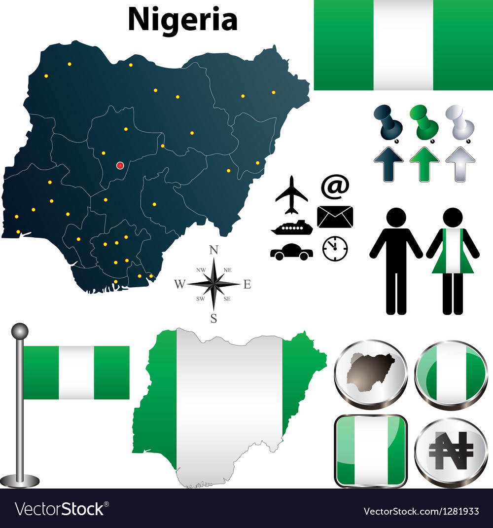 Nigeria map with regions vector | Price: 1 Credit (USD $1)
