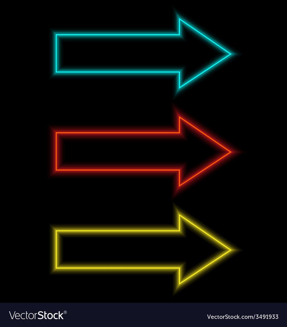 Self-illuminated arrows on black vector | Price: 1 Credit (USD $1)