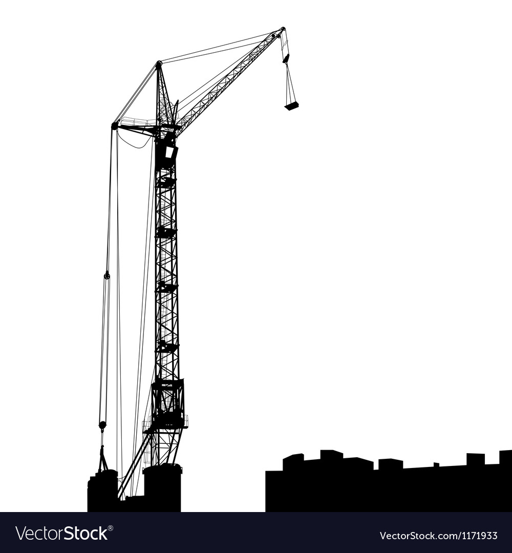 Silhouette of one cranes working on the building vector | Price: 1 Credit (USD $1)