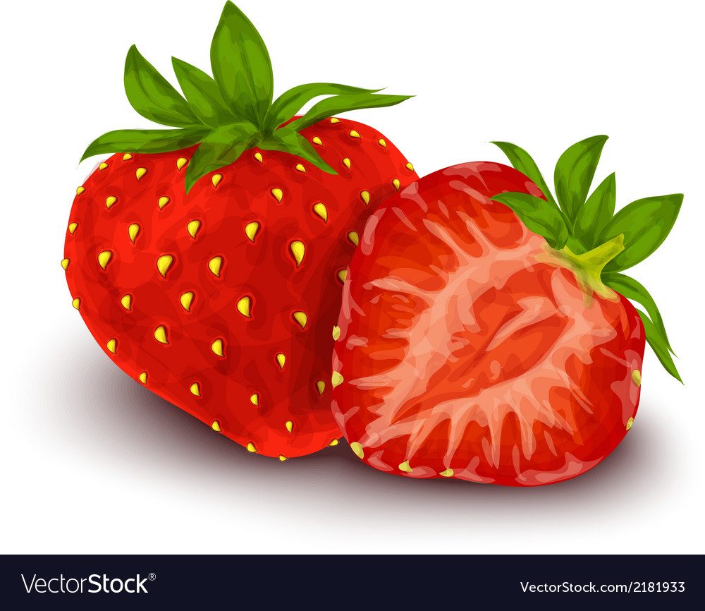 Strawberry isolated poster vector | Price: 1 Credit (USD $1)
