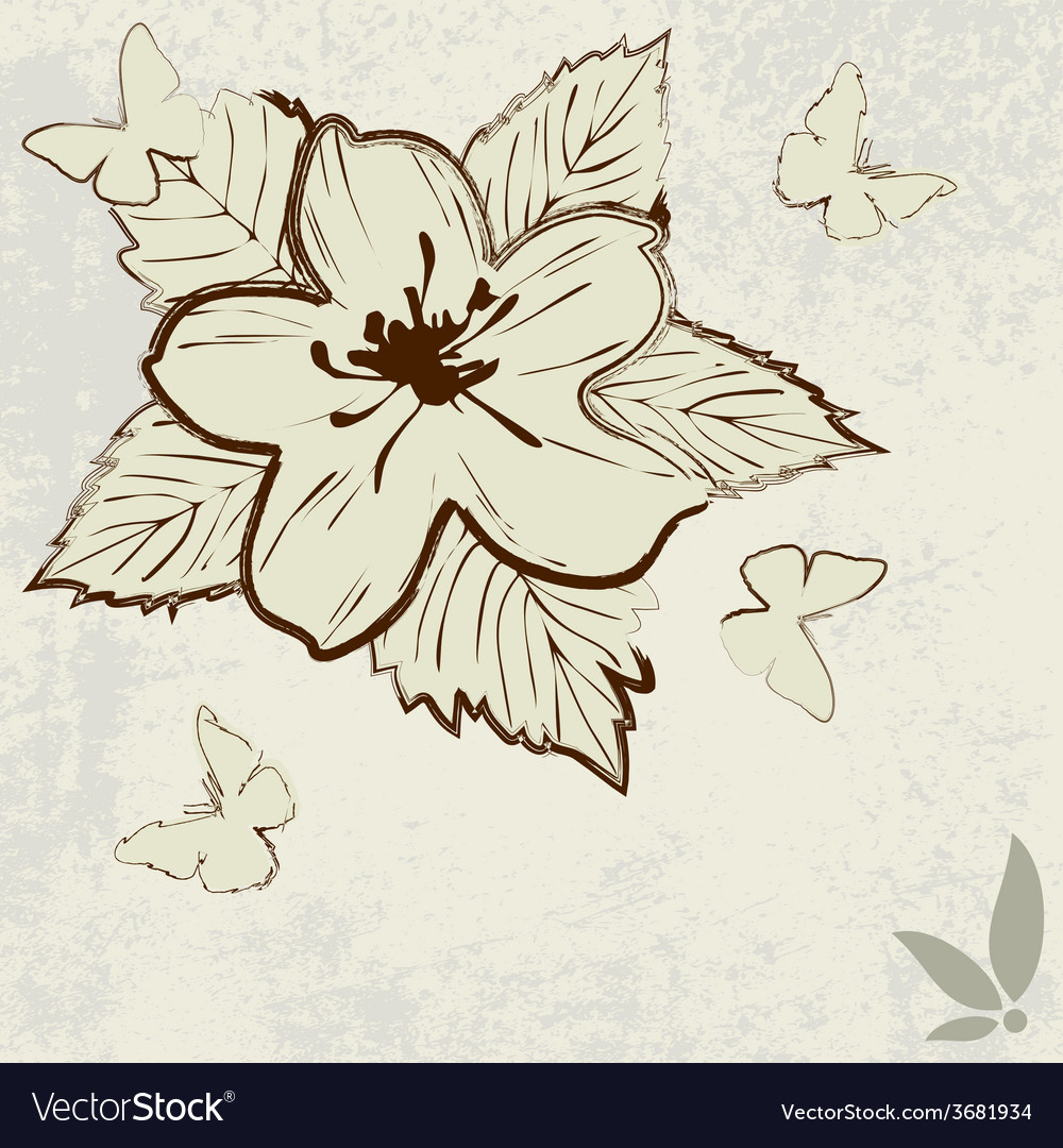 Abstract background in grunge style with flower vector | Price: 1 Credit (USD $1)