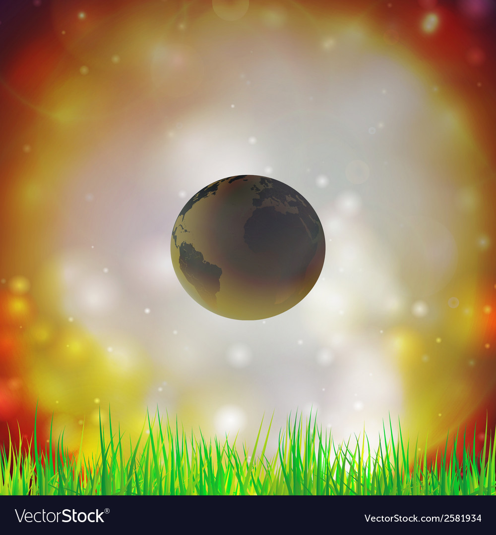 Abstract background of globe with grass  view at vector | Price: 1 Credit (USD $1)
