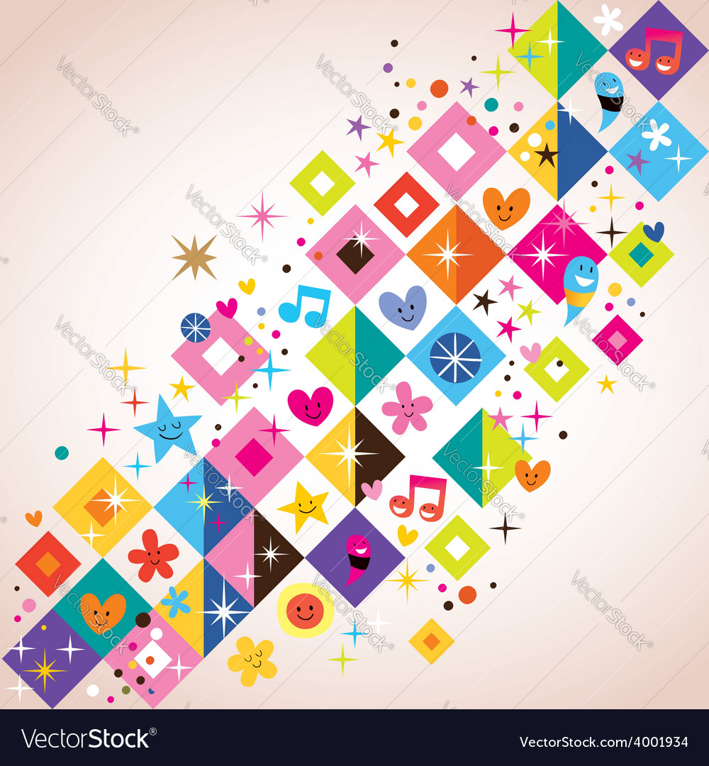 Fun squares background vector   Price: 1 Credit (USD $1)