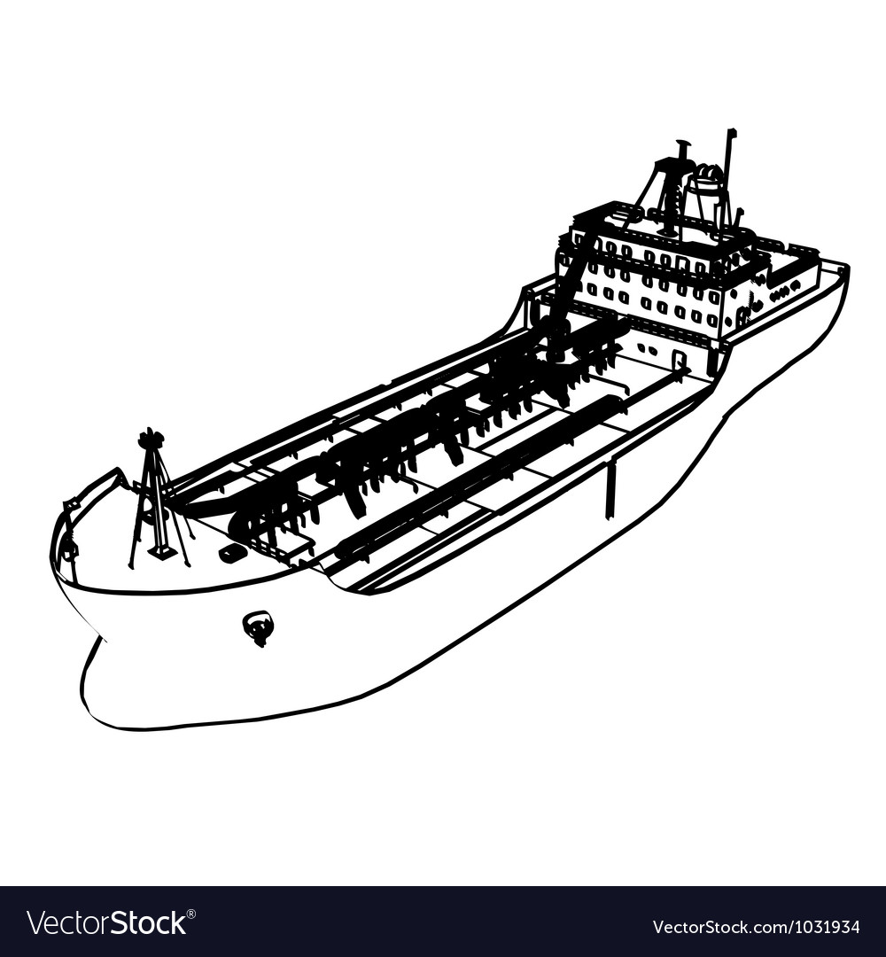 Large tanker ship vector | Price: 1 Credit (USD $1)