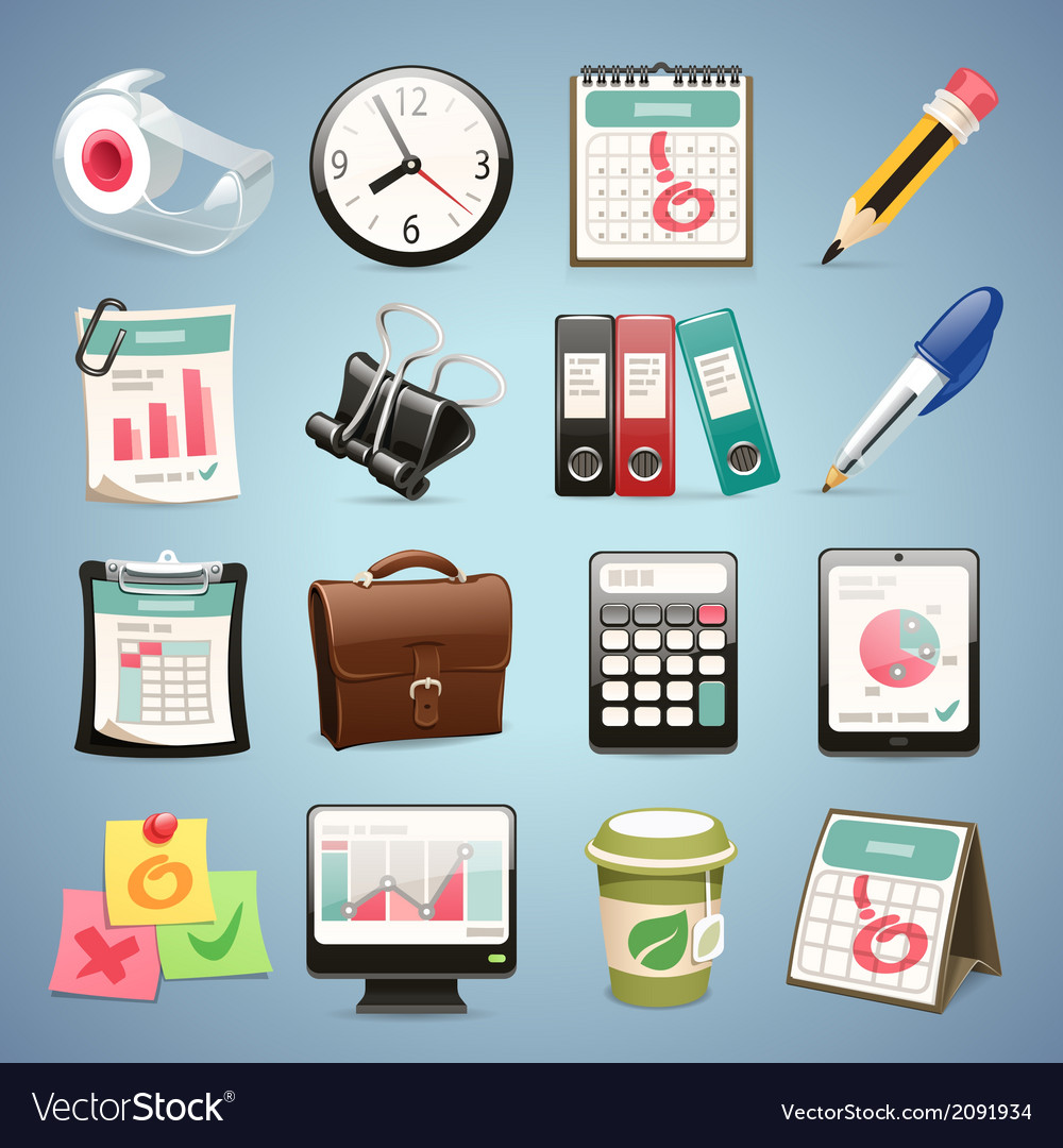Office equipment icons set1 1 vector | Price: 1 Credit (USD $1)