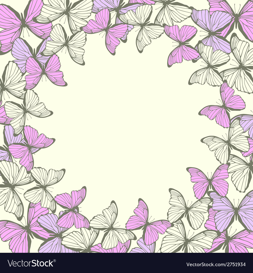 Round frame with decorative butterflies ornament vector | Price: 1 Credit (USD $1)