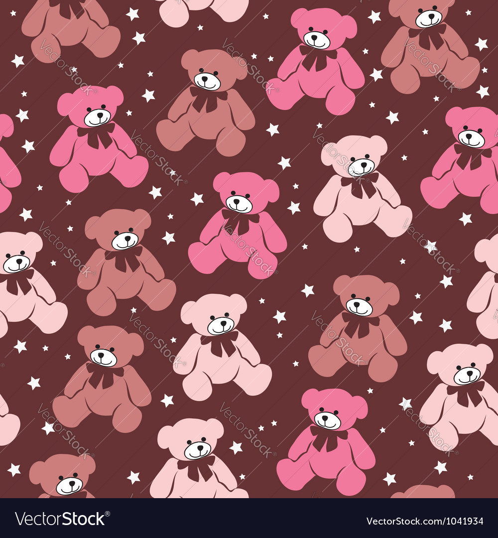 Seamless pattern teddy bears vector | Price: 1 Credit (USD $1)