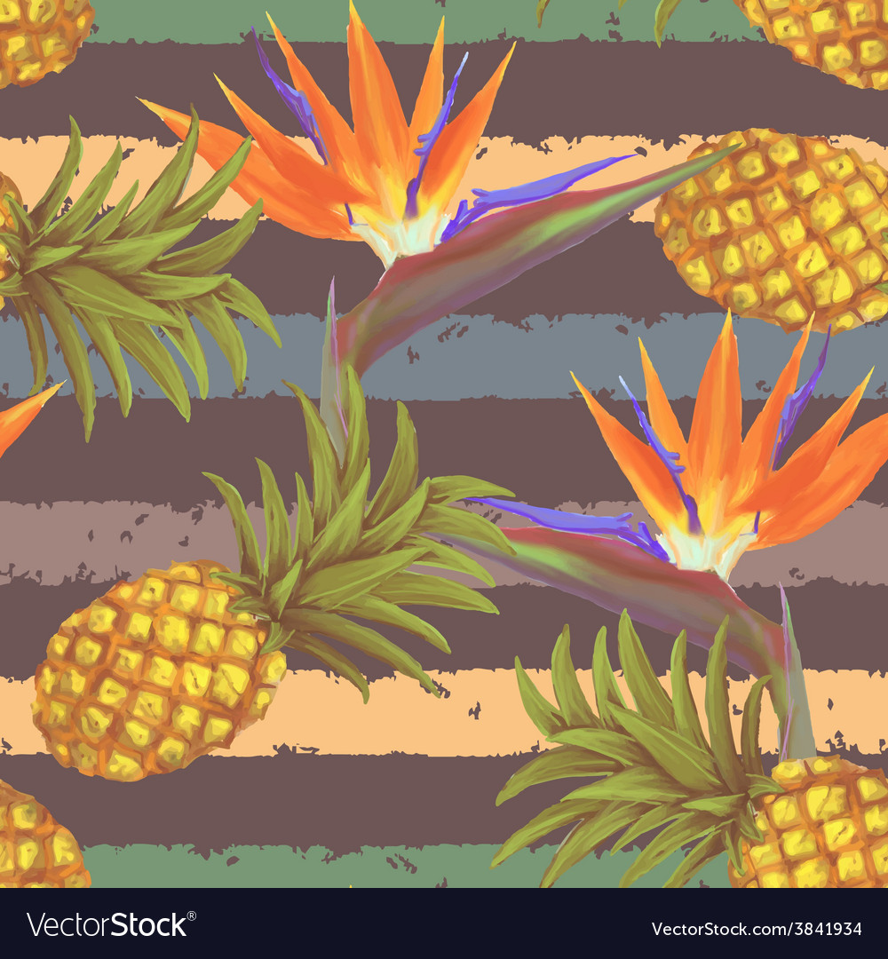 Tropical exotic flowers and pineapple seamless vector | Price: 1 Credit (USD $1)