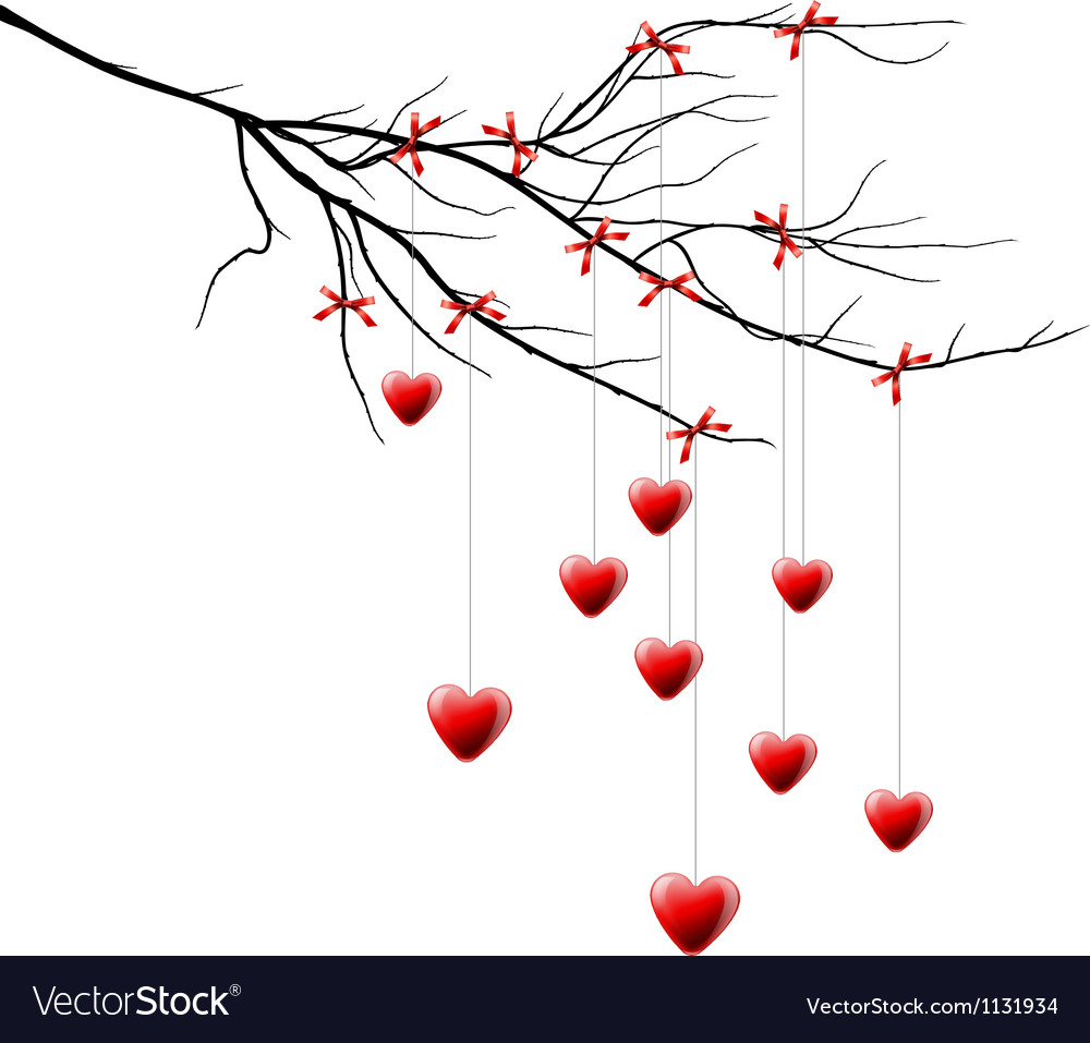 Valentine background branch with hearts vector | Price: 3 Credit (USD $3)