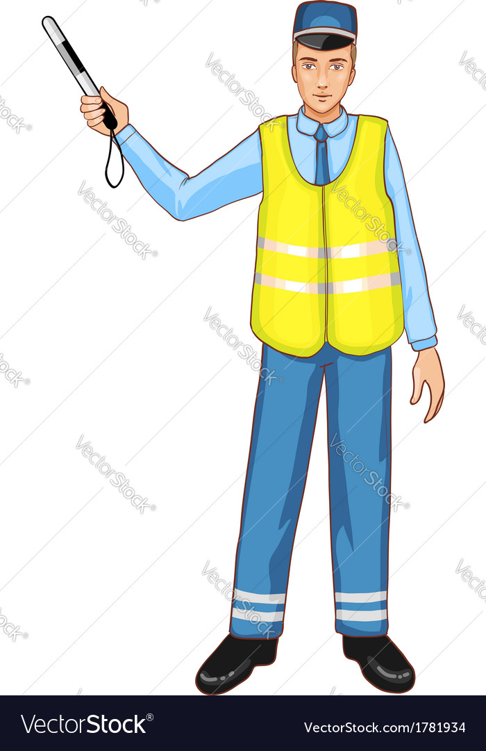 Young traffic-controller with rod eps10 vector | Price: 1 Credit (USD $1)