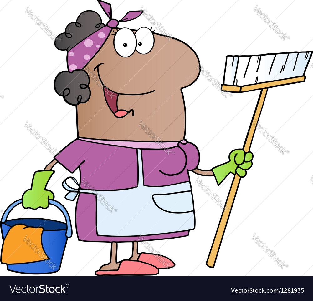 African american woman cleaning cartoon character vector | Price: 1 Credit (USD $1)