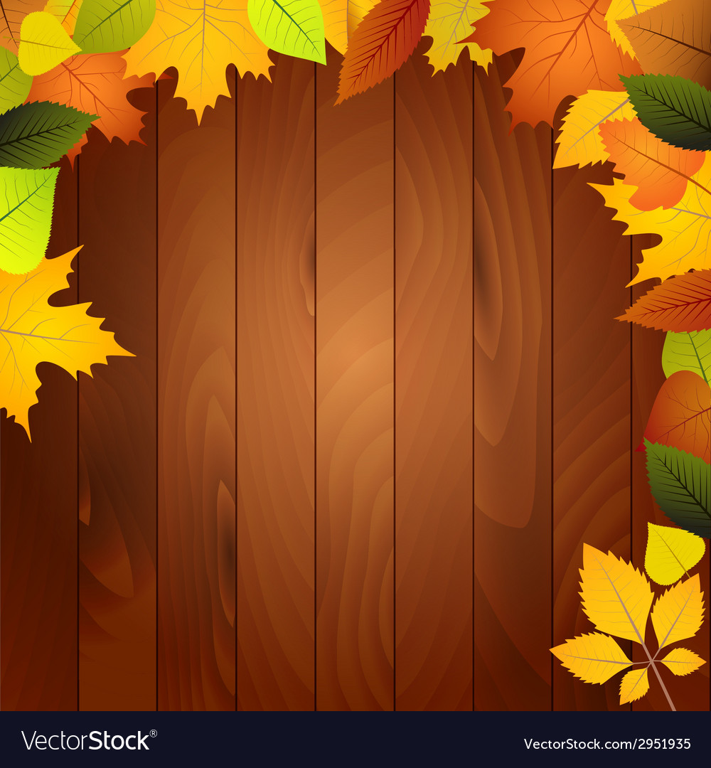 Autumn leaves on a wooden wall vector | Price: 1 Credit (USD $1)