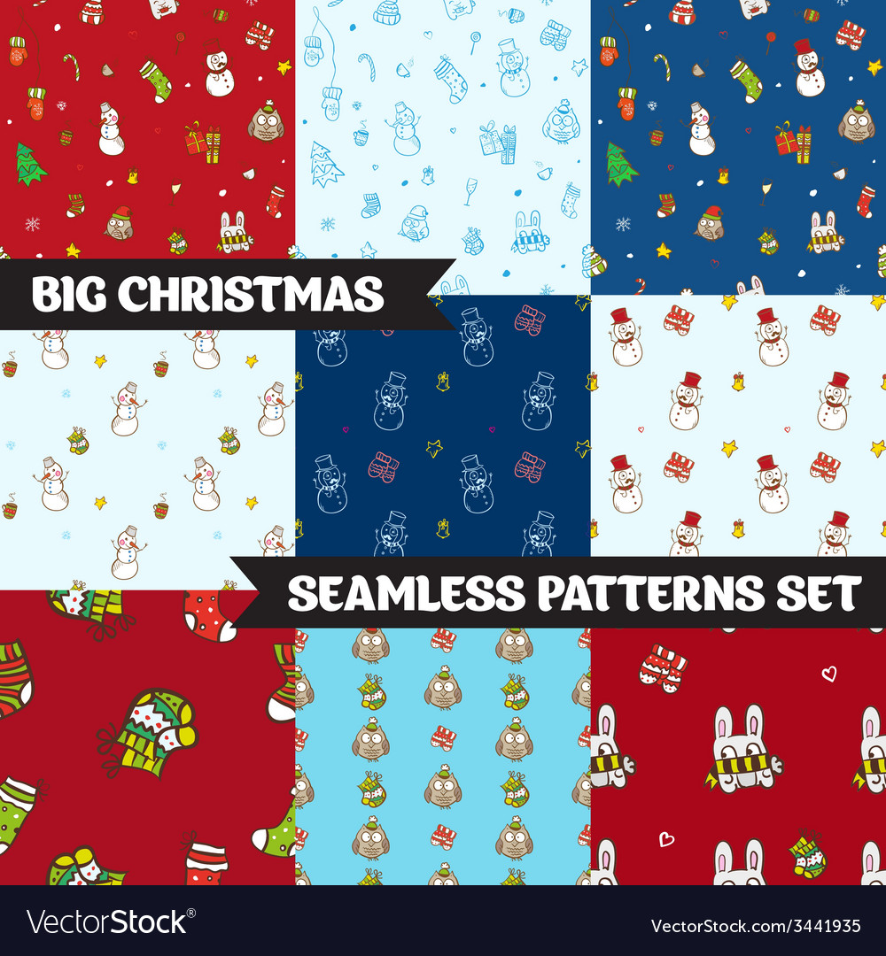 Big christmas seamless patterns set vector | Price: 1 Credit (USD $1)