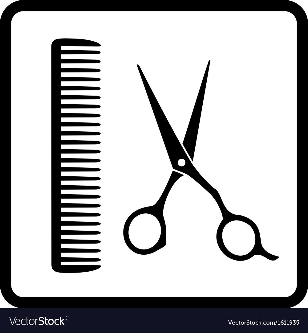 Black sign of man hair salon vector | Price: 1 Credit (USD $1)