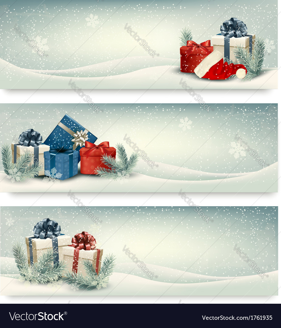 Christmas winter banners with presents vector | Price: 1 Credit (USD $1)
