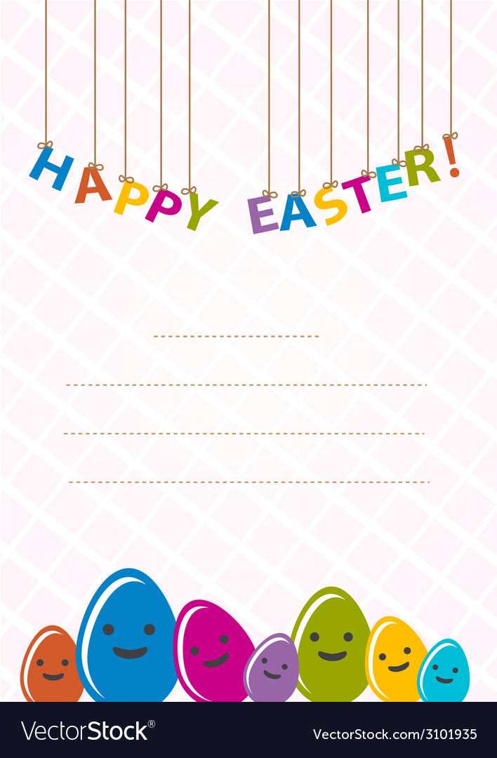 Colored happy eggs easter cards vector | Price: 1 Credit (USD $1)