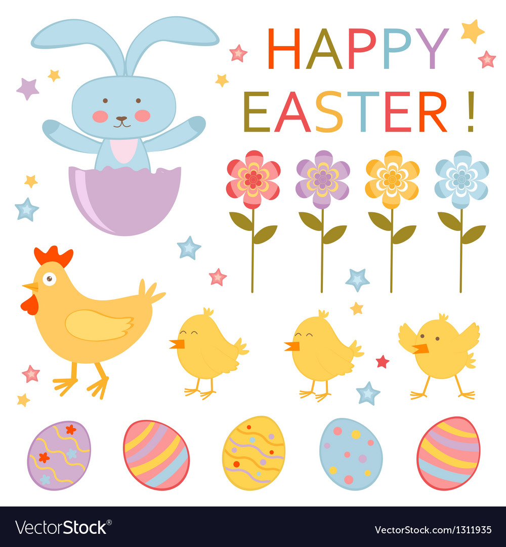 Cute easter set vector | Price: 1 Credit (USD $1)