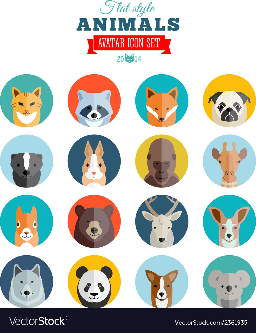 Flat style animals avatar icon set vector | Price: 1 Credit (USD $1)