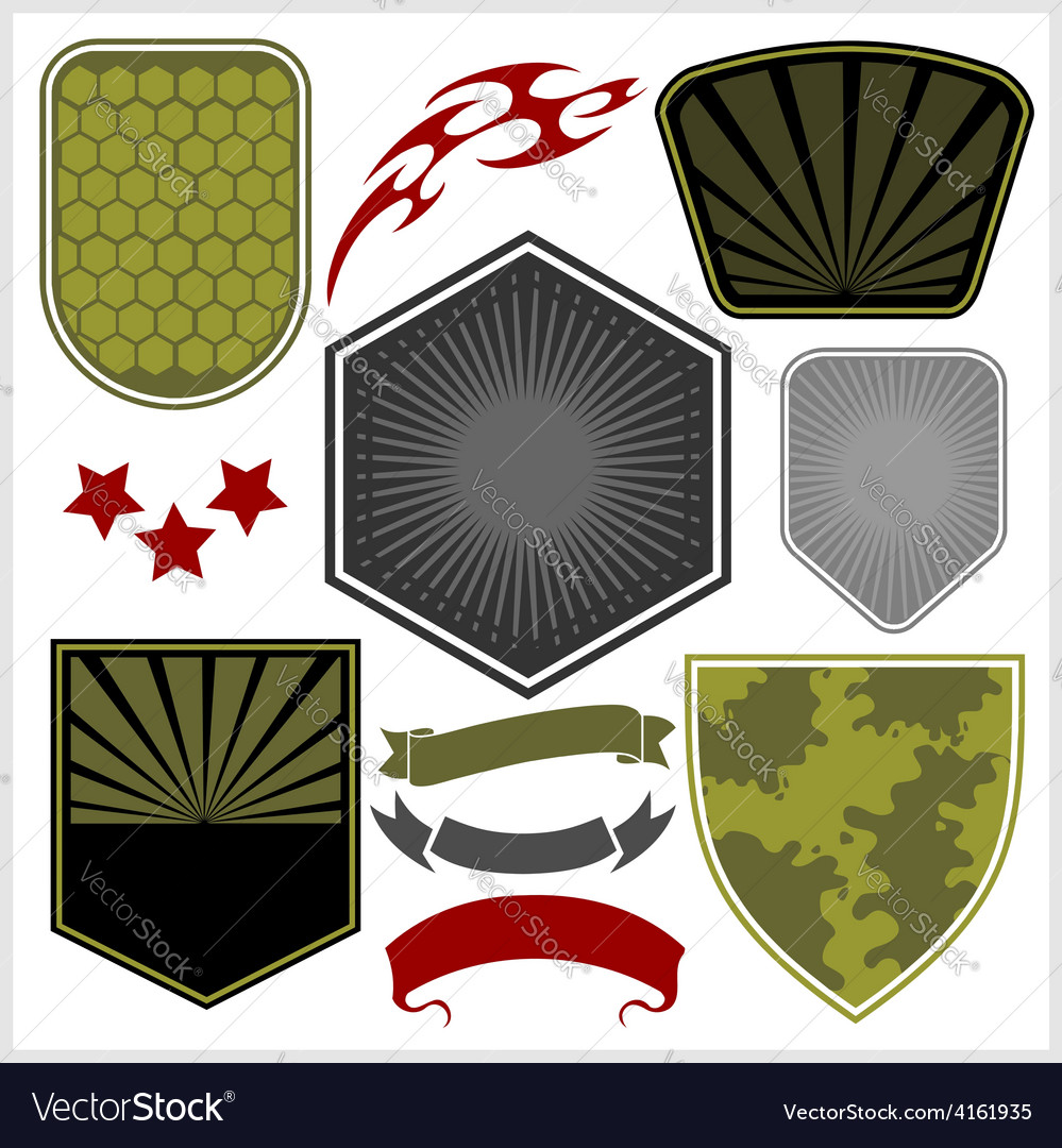 Military shields and elements  set vector